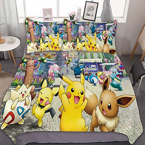 MEW Anime Bedding Duvet Cover Set for Poke-mon Full Queen 90×90 inch Pikachu 1 3 Pieces Setwith Zipper Closure and 2 Pillow Shams Cute Cartoon Bedroom Comforter Sets Boys Girls