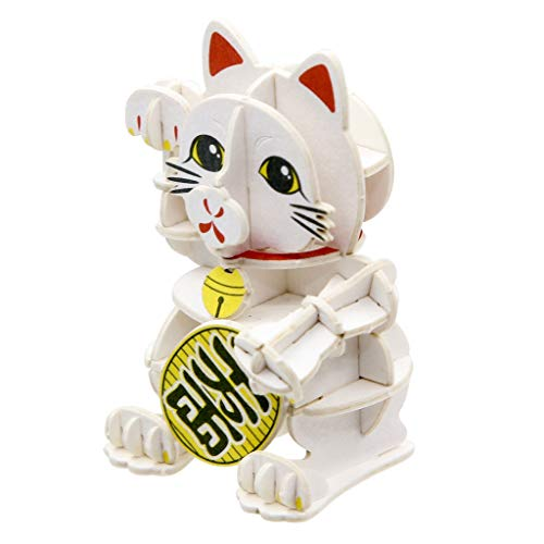 Team Green JIGZLE Paper 3D Puzzle – Desk Decor Collection Miniature Gift Craft Kit Lucky Cat