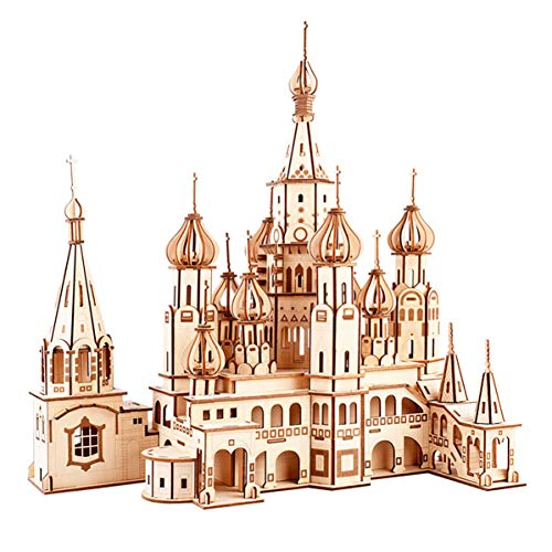 GuDoQi 3D Wooden Puzzle St Basil's Cathedral Model Kit Wood Architecture Craft DIY Assembly Toy for Teens and Adults