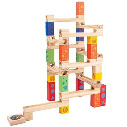 WANGJUNxIU Puzzle Games for Kids DIY Wooden Marble Run Building Blocks Construction Toys Set Race Track Fine Motor Skill Toy Toddler Children iq puzzler pro