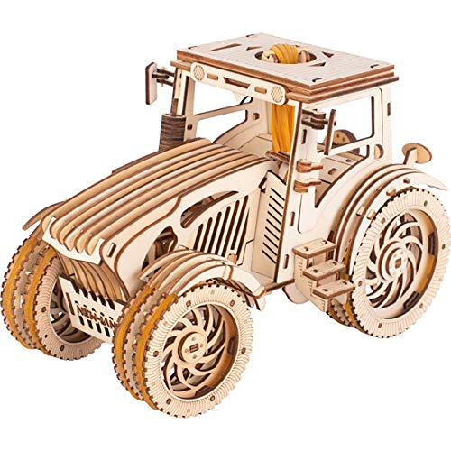 GuDoQi 3D Wooden Puzzle Mechanical Tractor Model Kit Wood Gears Constructor Craft Rubber Band Motor DIY Assembly Toy for Teens and Adults