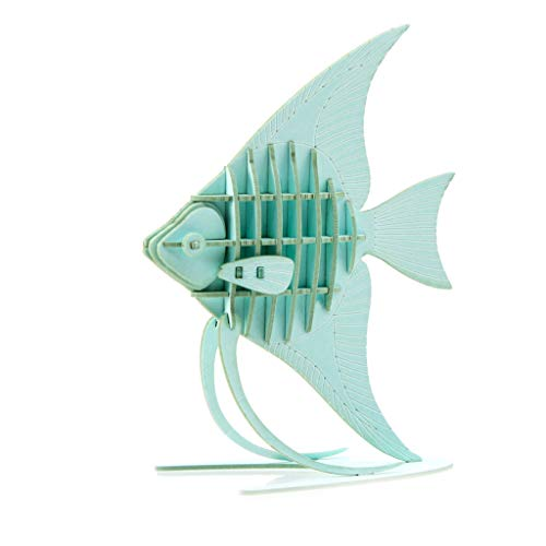 Team Green JIGZLE Paper 3D Puzzle – Marine Collection Miniature Craft Kit Angelfish