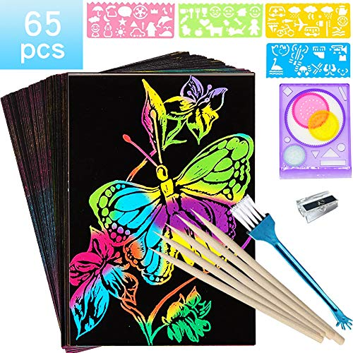 JIMO Scratch Art Sets for Kids Paper Craft Kits Girls Rainbow Magic Boards Boys Christmas Easter Birthday Party Gift