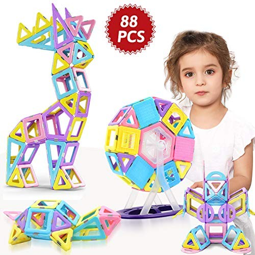 HOMOFY 88PCS Magnetic Castle Building Blocks Tiles 3D Toys STEM Educational Construction Gift Toy for Years Old Girls Boys