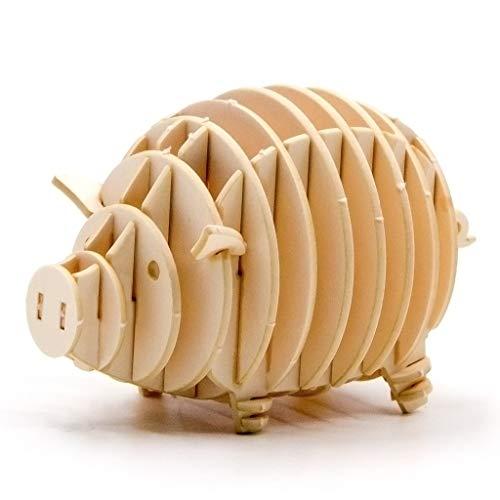 Team Green JIGZLE Paper 3D Puzzle – Safari Collection Miniature Park Craft Kit Pig