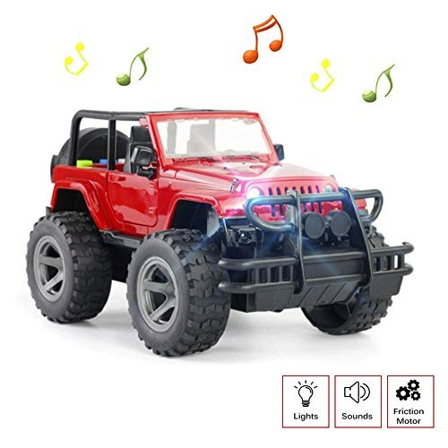 OMGTOY Toy Car Off-Road Friction Powered Toy Vehicle with Lights & Sounds for Kids