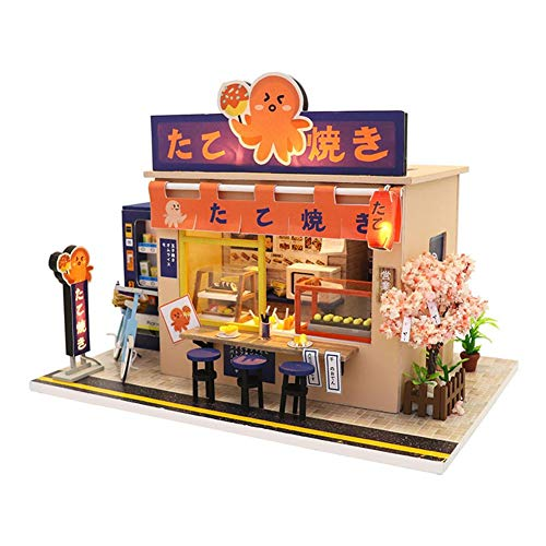 Wooden Dollhouse Architecture Kits DIY Wood Craft 3D Puzzle-Model Building Set Beautiful Japanese Dessert Shop Assembled Cabin Holiday Birthday Gift