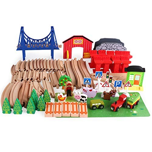 Rnwen-BB Building Blocks for Kids Wooden Train Track Set Toy and Farm Animal Scene Kit 82pcs Imposition Educational