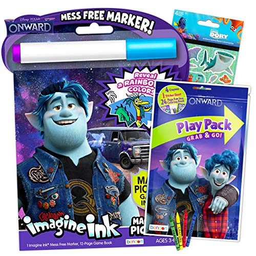 Disney Onward Coloring and Activity Book Bundle ~ 2 Pack Books with Bonus Stickers Onward Party Supplies