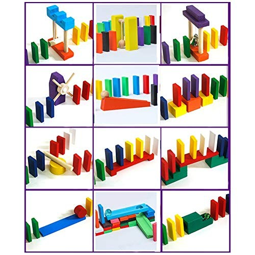 Kunyin Rainbow Domino Wooden Building Blocks Children's Educational Toys Block Set and Stacked Toy Blocks 3 institutions Random