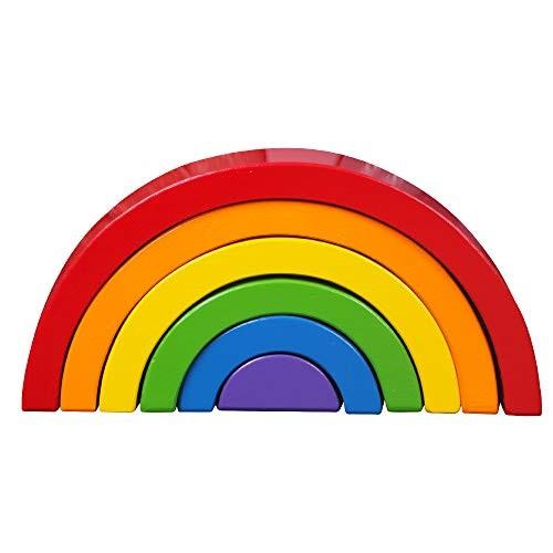 FUNCUBE 6 pcs Rainbow Stacker Nesting Wooden Building Blocks Toy Puzzle Kindergarten Toys 104x49x16 inches