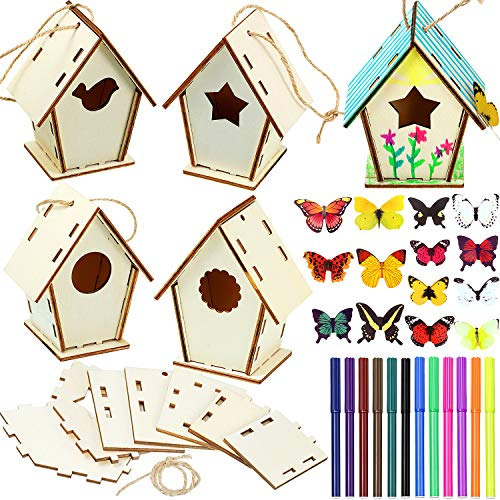 Wooden Birdhouse DIY Kits Including 12 Pieces 4 Shapes Unfinished Paintable Bird House with Colour Watercolour Pen and 19 Stereoscopic Butterfly Sticker for Boy Girl Crafting Decorating