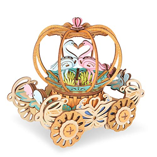 GuDoQi 3D Wooden Puzzle Pumpkin Cart with Music Wood Craft Kit DIY Assembly Toy for Teens and Adults
