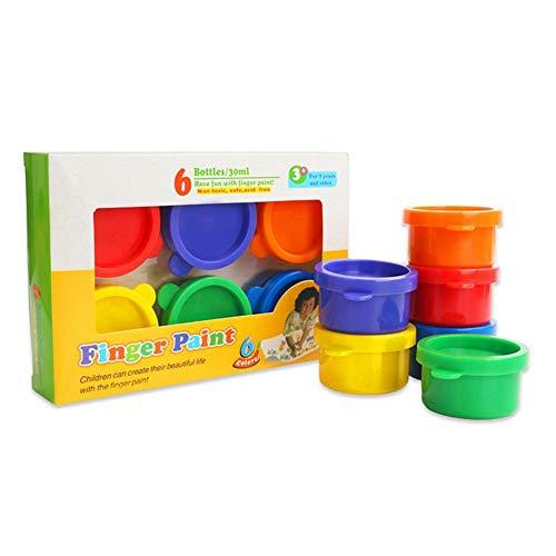 Washable Finger Paints School Painting Supplies Gifts for Kids Vibrant Colors Gouache Paint Doodle Set 6 Children