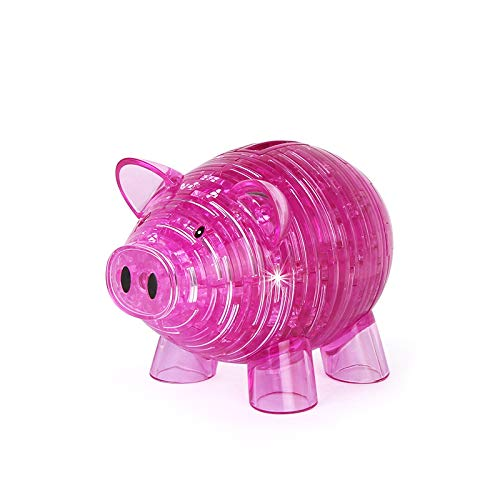 3D Crystal PuzzlePiggy Bank Jigsaw ToysBrain Teaser IQ GameAnimal DIY Craft Gadget Model KitsAssembly Building Block Construction Educational PuzzlesGift for Kids Teens AdultsPink