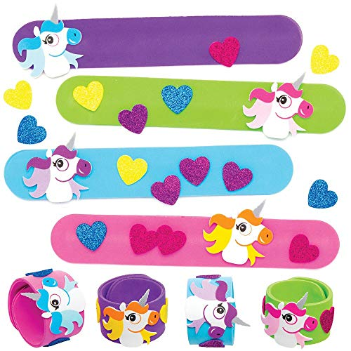Baker Ross AT726 Unicorn Snap On Bracelet Kits for Kids Arts and Crafts Projects Pack of 4 Assorted