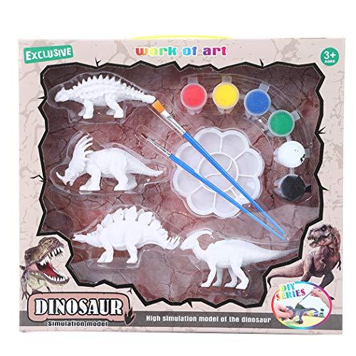 Coxeer Dinosaur Figurines Craft Kit Creative Fashion Paint Palette for Kids Oil Art Painting Educational Toys