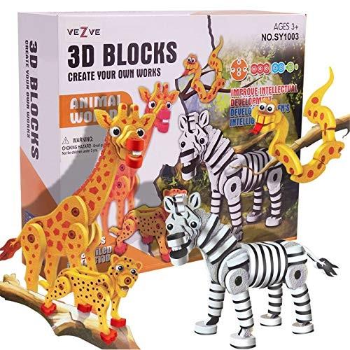 3D Animals DIY Puzzles Set EVA Foam Educational Zebra Giraffe Snake Cheetah Toys for 3+ Year Old Kids