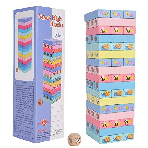 FastUU Wooden Block Toy 51pcs Children Bright Color Classical Stacking Games Building Blocks Educational for One or More Players Ages 3 Years Old and Up Colorful