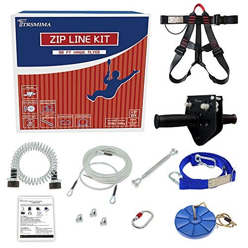 Trsmima 98 Feet Zip Line Kit for Kids and Adult Up to 350 lb
