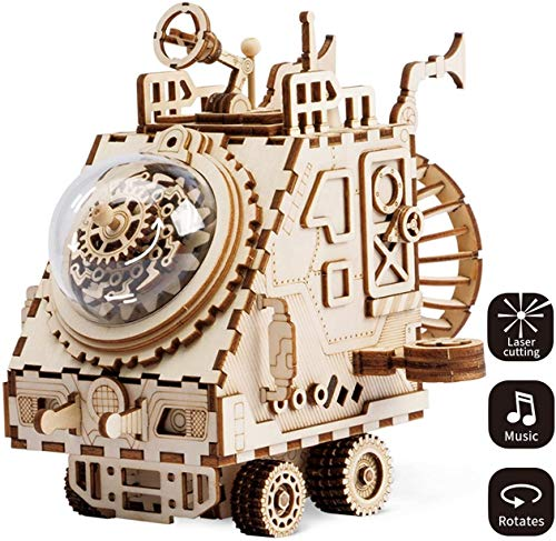 GxWT Landing Car Laser Cut Puzzle Toys – Adults Model Kits DIY Space Vehicle Music Box for Kids and Adults-3D Jigsaw Craft