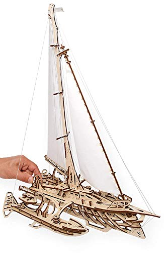 GxWT 3D Puzzles for Adults Trisomy Sailboat Mechanical Models Wooden Puzzle Brain Teaser Construction Craft Kits DIY Learning Toys Kids Eco Friendly Woodcraft Building Set