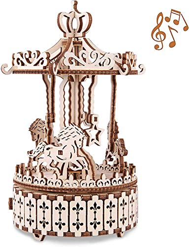 GxWT 3D Puzzle Toy Wooden Spinning Carousel with Music Box Mechanical Model Craft Kit for Teens and Adults DIY Assembly Desk Decoration Color Merry Christmas