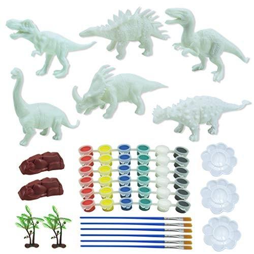 Ugood DIY Crafts Painting Kits – Dinosaur Graffiti Toys 3D Animals Model Pigment Fill Tools Ideal for Kids Gift 55PCS
