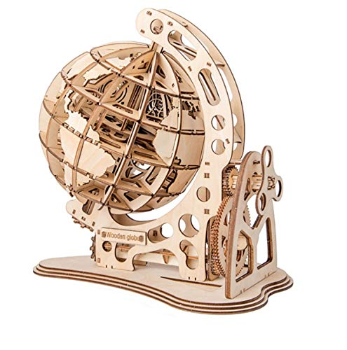 3D Wooden Globe Puzzle Adult Craft Model Building Kits DIY Educational Toy for Children Kids Boys Girls