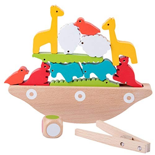 1 Set Wooden Balancing Game Stacking Blocks Baby Toddlers Toys Building Balance Games for Kids Educational Assorted Color