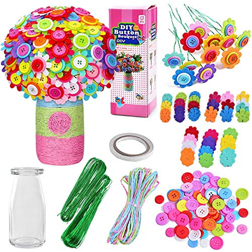 Flower Crafts for Kids Fun DIY Craft Kit Arts and Toy Age 4-12 Years Old Create Your Own Vase Flowers