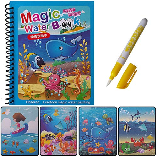 Yileqi Unicorn Water Reveal Coloring Book with Magic Pen Paint with Water Books for Kids Age 3 4 5 6 Birthday Gift Activity Travel Portable Mess Free Reusable Painting Kit for Kids Girls Boys