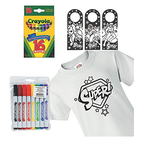 Color Your Own Superhero Boredom Buster Kit – Craft Kits 37 Pieces