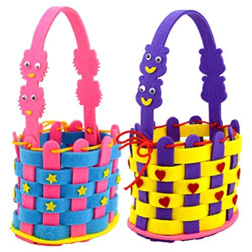 2 Sets of Kids Handmade Storage Basket DIY Craft Kit Educational Toy for Kindergarten As Shown and Bear