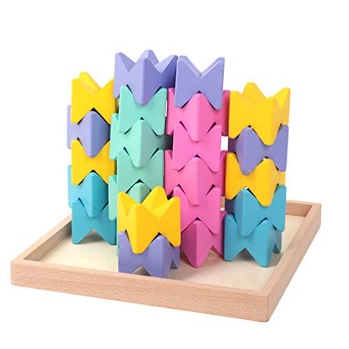 Wooden Building Blocks Constructive Playthings Toy Geometry Birthday Gifts