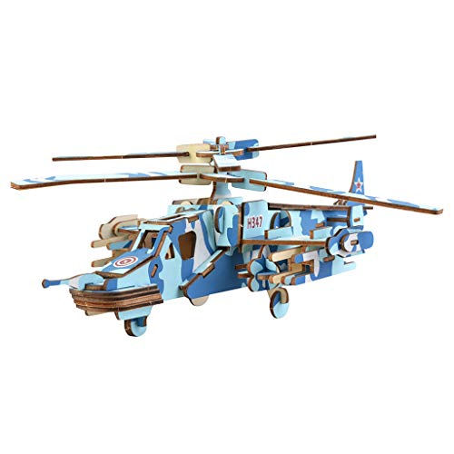 3D Wooden Mini Model Kit Ecstasi Blue Tone Camouflage Helicopter Miniature Hand Craft Art Work Room Decoration DIY Assembly Puzzle Gift for Military Fan Adult Boy Girl Jigsaw Brain Teaser
