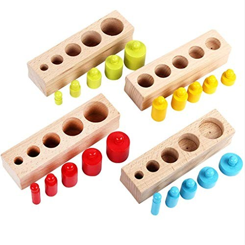 LJH Toys Colorful Sleeve Cylindrical Building Block Toddler Wooden Development Educational Children's Birthday Gifts Fx