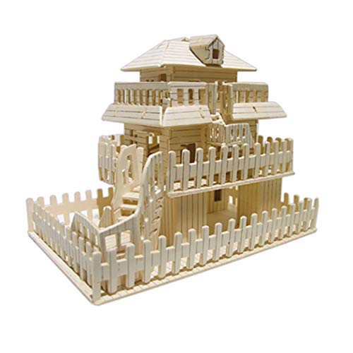 FunPa Kids Wooden Puzzle Kit 3D Ancient Building Wood Model Craft