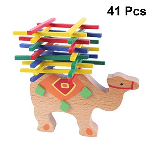 41pcs Wooden Animals Stacking Blocks Balance Building Montessori Puzzle Toy for Toddlers A Camel with 40pcs Wood Stick