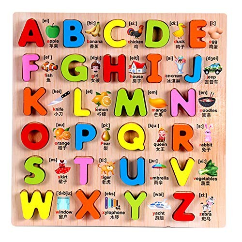 CCM Puzzle Early Education Hand Grab Board Alphabet Children's Wooden Panel Matching Building Block Toys Px