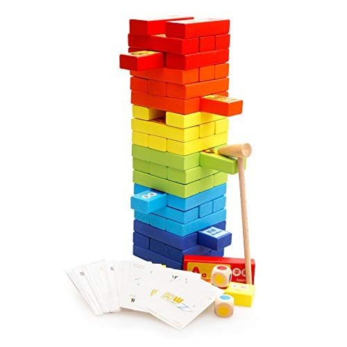 Wooden Children's Building Blocks Timber – 60Piece Block Set Baby Toys & Gifts for Ages 1 to 2