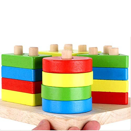 ZLWPH Kids Wooden Educational Geometric Stack and Sorting Board Shape Color Recognition Toys Children's Birthday Gifts