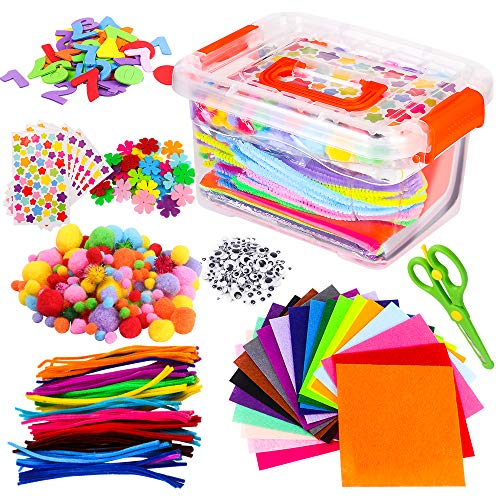 Arts And Crafts Supplies For Kids Assorted Diy Art Craft Kit Toddlers Pipe Cleaners Pom Poms Googly Eyes Toys All In One Box Children Case Set School Preschool Crafting Activities Aged 4