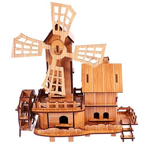 Milisten Building House Puzzles Toy Castle Blocks Windmill Model Assembling Preschool Wooden Educational Toys Birthday Gifts Beige