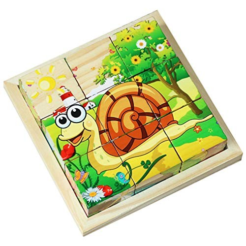 Exceart Wood Cube Puzzle 3D Wooden Building Block Toy Early Educational Insect World