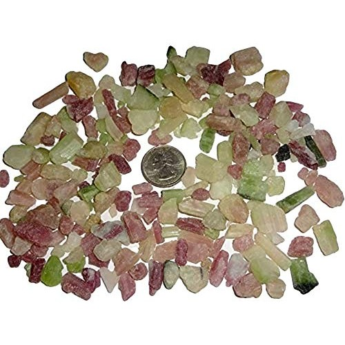 Sublime Gifts – Pink & Green Tourmaline Raw Natural Rough Mini rods Log chip Pieces Crystal Healing Gemstones 5pc Set
