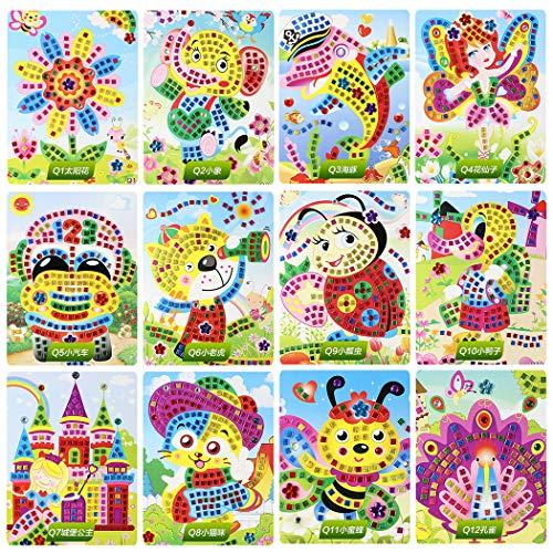 FunPa 12 Sets Kids Mosaic Sticker Kit 3D Cartoon Diamond Painting DIY Craft