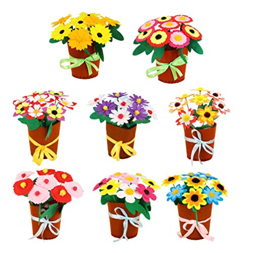 Exceart 8 Set Felt Flower Craft Kit DIY Kids Arts and Crafts Toy Bouquets for Home School