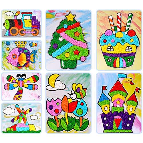 Yuehuam 8 Cards DIY Craft Toy Sticky Felt Paper Painting Kit Kindergarten Handicraft Material Kids Children Gift