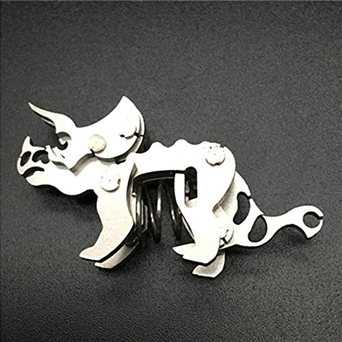 Haoun 3D Metal Puzzle for Kids and Adults DIY Assembly Dinosaur Model Stainless Steel Kit Jigsaw Craft Brain Teaser Toy Desk Ornament – Triceratops
